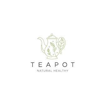 Théière logo icône design template vecteur plat
