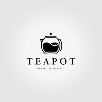 Théière minimale logo vintage conception illustration vectorielle