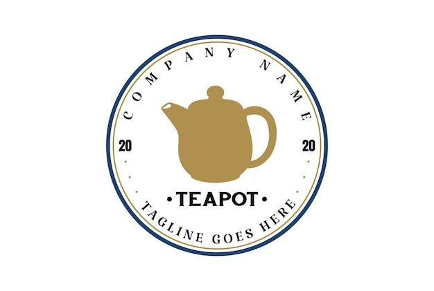 Théière rétro vintage pour le vecteur de conception de logo d'étiquette de timbre de café de thé