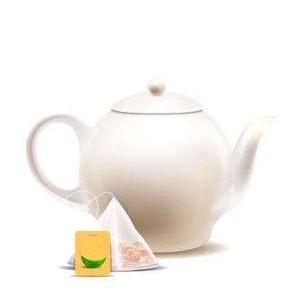 Théière et sachet de thé pour préparer le vecteur de boisson chaude