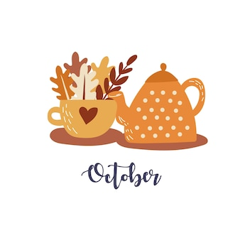 Théière et tasse mignonnes d'illustration vectorielle d'automne avec des feuilles d'automne dessinées à la main