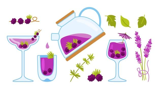 Théière tasse de thé et herbes ingrédients de fruits pour les boissons