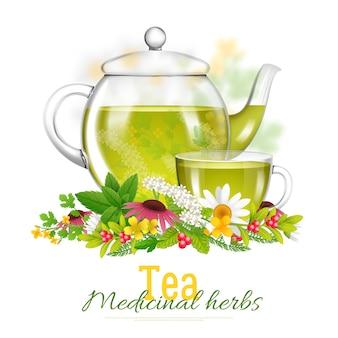 Théière et tasse à thé illustration d'herbes médicinales