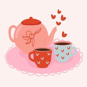 Théière et tasses avec illustration tendance coeur