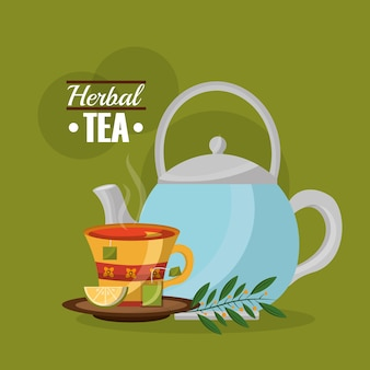 Théière de thé à base de plantes et de thé tasse de thé et de feuilles de thé