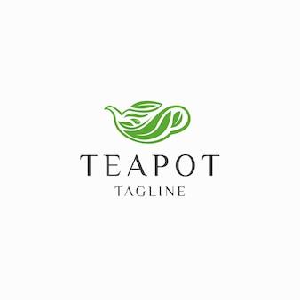 Théière thé vert feuille nature logo icône modèle de conception vecteur plat