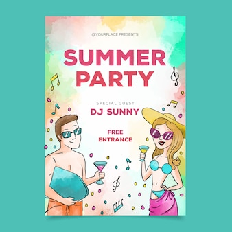 Thème d'affiche de fête d'été aquarelle