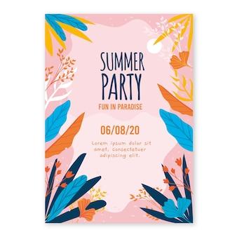 Thème d'affiche de fête d'été dessiné