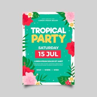 Thème d'affiche de fête tropicale