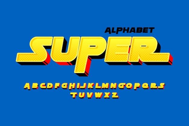 Thème de l'alphabet comique 3d