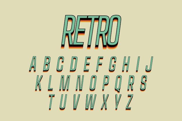 Thème de l'alphabet rétro 3d