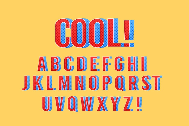 Thème de la bande dessinée 3d pour l'alphabet