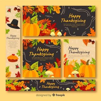 Thème de bannières de thanksgiving avec design plat
