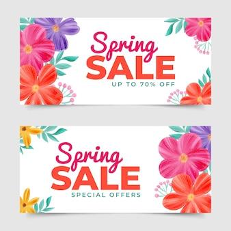 Thème de bannières de vente de printemps aquarelle