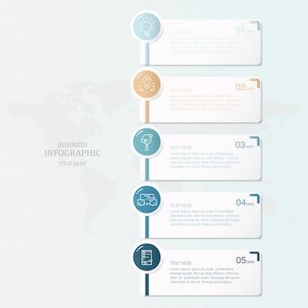 Thème bleu et infographie de processus 5 et icônes pour présentation d'affaires