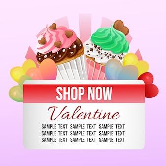 Thème de la boutique valentine avec des cupcakes colorés