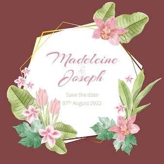 Thème de cadre floral de mariage élégant