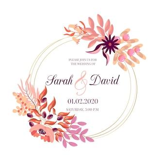 Thème de cadre floral de mariage
