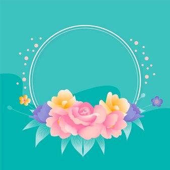 Thème de cadre floral printemps dessiné à la main