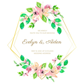 Thème de cadre de mariage floral