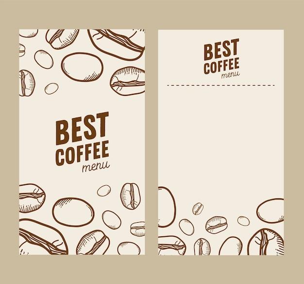 Thème de cadres de papiers de grains de café