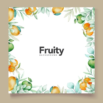 Thème de carte de fond aquarelle fruits