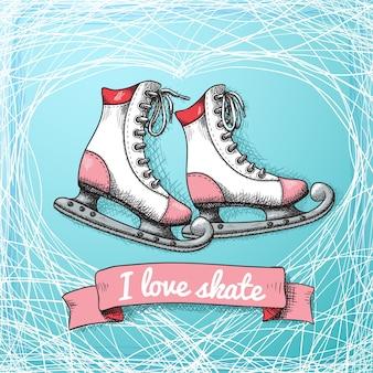 Thème de carte de skate d'amour