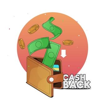 Thème de cashback avec de l'argent