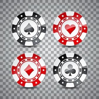 Thème de casino avec des jetons de couleur sur fond transpare.