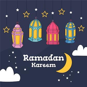 Thème de célébration du ramadan dessiné à la main
