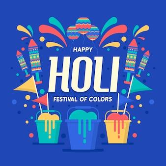 Thème de célébration d'événement de festival de design plat holi