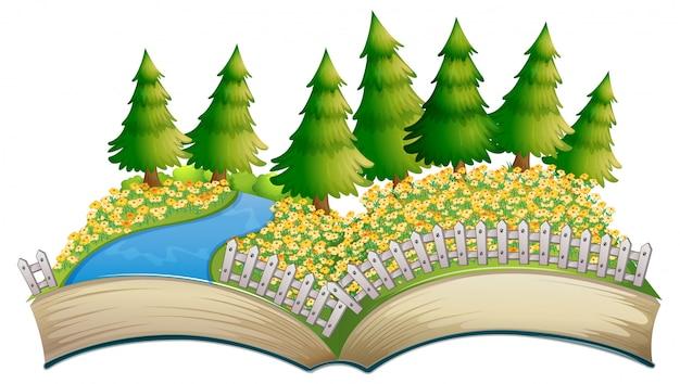 Thème de champ de fleurs livre ouvert