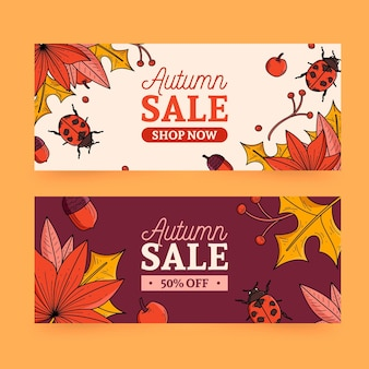 Thème de collection de bannière de vente d'automne