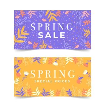 Thème de collection de bannière de vente de printemps design plat