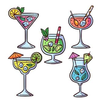 Thème de la collection de cocktails dessinés à la main