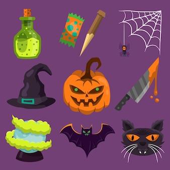 Thème de collection d'élément halloween heureux