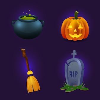 Thème de la collection d'éléments halloween