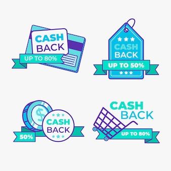 Thème de la collection d'étiquettes cashback