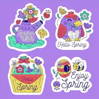 Thème de collection d'étiquettes design plat printemps