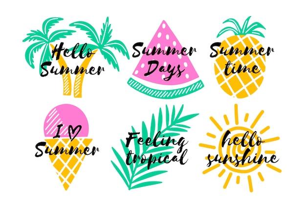 Thème de la collection d'étiquettes d'été