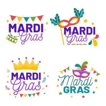 Thème de la collection d'étiquettes de mardi gras