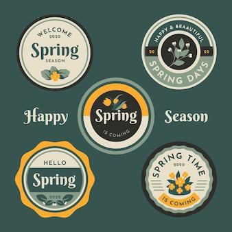 Thème de collection d'étiquettes de printemps vintage