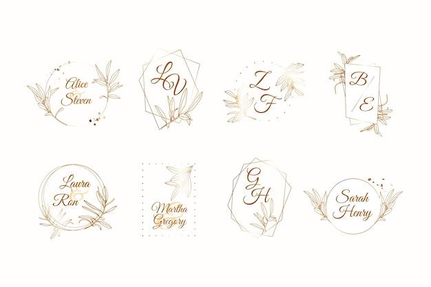 Thème de collection de monogramme de mariage élégant