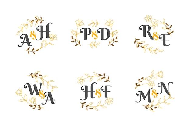 Thème de collection de monogramme de mariage floral