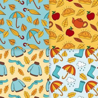 Thème de collection de motifs d'automne