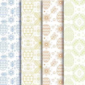 Thème de collection de motifs de pâques design plat