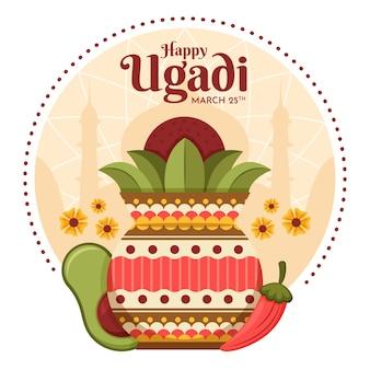 Thème de la conception ugadi heureux design plat