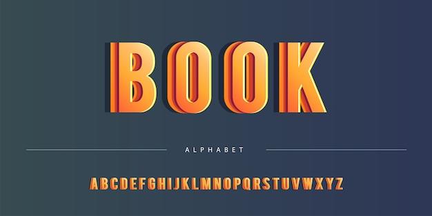 Thème de couleur orange abstrait multi-couches alphabet anglais gras ensemble