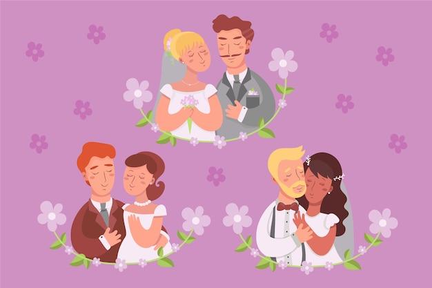 Thème de couple de mariage illustré