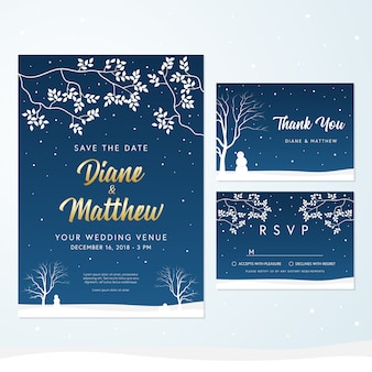 Thème d'hiver invitation de mariage